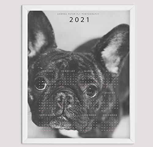French Bulldog Dog Calendar 2021 Wall Art Print Gifts For Frenchie Dog Mom, Cute Dog Photo Calendar Poster, Animal Calendar 2021 One Page A Year, Framed Unframed 8 12 18 24