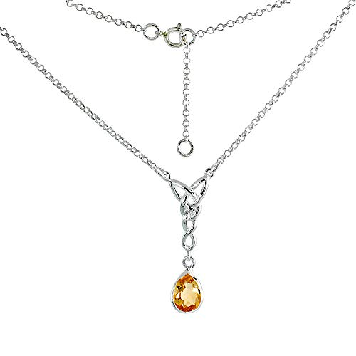 Sterling Silver Celtic Teardrop Necklace with Genuine Citrine 16-17 inch Long
