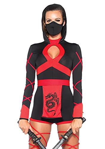 Leg Avenue 3 Piece Dragon Ninja Set-Sexy Romper and Face Mask Halloween Costume for Women, Black/Red, Small