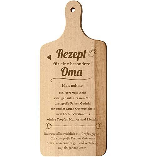 Spruchreif PREMIUM QUALITÄT 100% EMOTIONAL · XL Schneidebrett mit Griff und Öse · Küchenbrett aus Holz mit Gravur · Rezept Oma · Geschenk für die Oma · Geburtstag (Rezept für eine besondere Oma)
