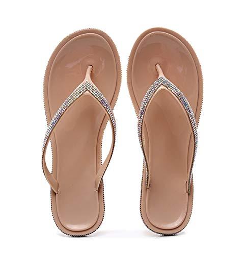 Sommer Flip Flops Damen Mädchen Sandalen Hausschuhe Mode Flache mit Strass Glitzer für Frauen Sommer Flip Flops Casual Strand Sandale Flache Schuhe-Gold (EU36-42) (Numeric_39)
