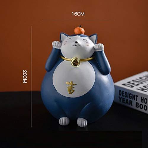 DIAOSUJIA sculptuur, Japanse Deep Blue Creative figuurtje, vortune, kat, beeldje, hars, handwerk, woonkamer, decoraties voor thuis, kassa, ornamenten