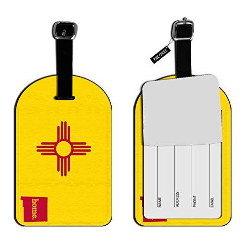 Etiquetas de identificación para Maleta de Equipaje, de Nicokee New Mexico NM Home State, de Piel Amarilla, para Bolsa de Viaje, Etiquetas para Etiqueta de Equipaje