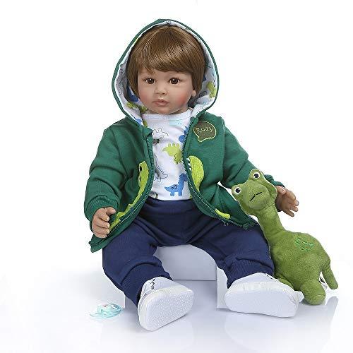Pinky Reborn Dolls 24 Inch 60cm Soft Silicone Reborn Toddler Baby Doll Realistic Real Lifelike Looking Newborn Dolls Baby Girl & Boy Toys (Boy)