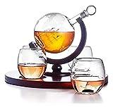 Conjunto de globo de Whisky Decanter con, 4 gafas de whisky de globo grabado, diseño elegante, hecho a mano, alcohol relacionado con regalos para papá Licorera ( Color : Transparent , Size : 1000ML )