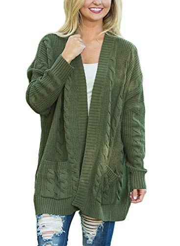 Dokotoo Womens Plus Size Cotton Ladies Casual Fall Chunky Thick Long Sleeve Open Front Long Knit Cardigans Sweaters Under 20 Pullover Tops with Pocket, (US 12-14)Large, Army Green