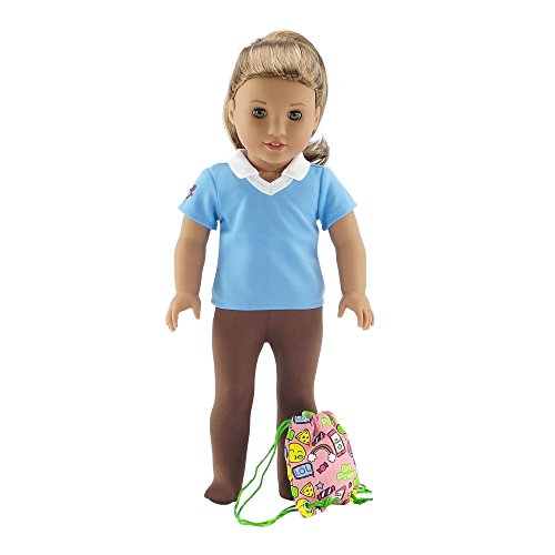 Emily Rose 18 Inch Doll Clothes | Brownie Girl Scout 3 Piece Accessory Pack, Including Tights, Activity Shirt and Girl Power Backpack! | Fits American Girl Dolls | Gift Boxed!