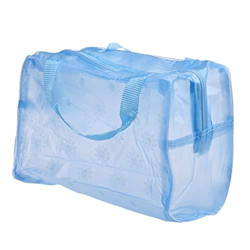 1PC translúcido Bolsa de Cosméticos maquillaje de PVC bolsa la bolsa con cremallera de lavado bolsa de viaje a prueba de agua del baño bolsa de almacenamiento bolsa de maquillaje portátil (Azul)