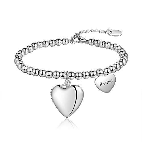 Grand Made Charm Personalizado con Foto Pulsera de corazón Grabado Gratis Pulsera de Pandora con 1 Nombre Charm Cuentas Plata 925 Regalo con Foto para Mujer (#Heart 2)