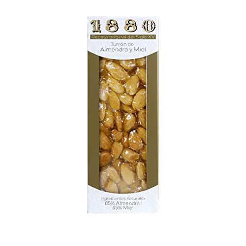 1880 - Turrón Artesano de Repelada y Miel de Origen Nacional, Textura Crujiente, Calidad Suprema Típico Dulce Navideño Receta del S Xv., Turrón Tradicional Sin Gluten, Almendra, 200 Gramos