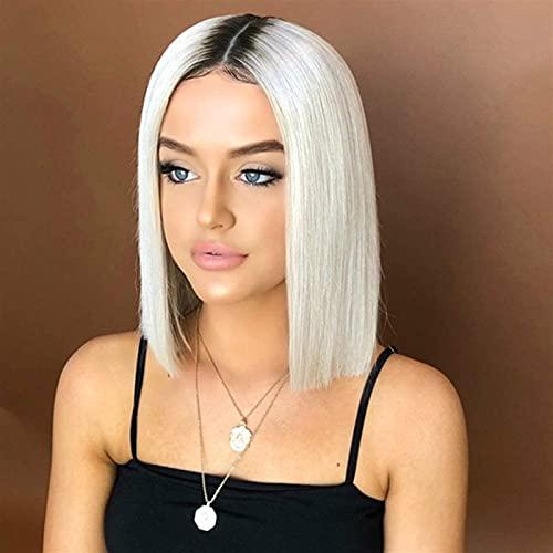 Perruques courtes Bob Bob pour femmes noires 100% Synthetic Fibre Hair Résistant Perruques de cheveux résistantes à la chaleur, blanc argent 20inches chenghuax