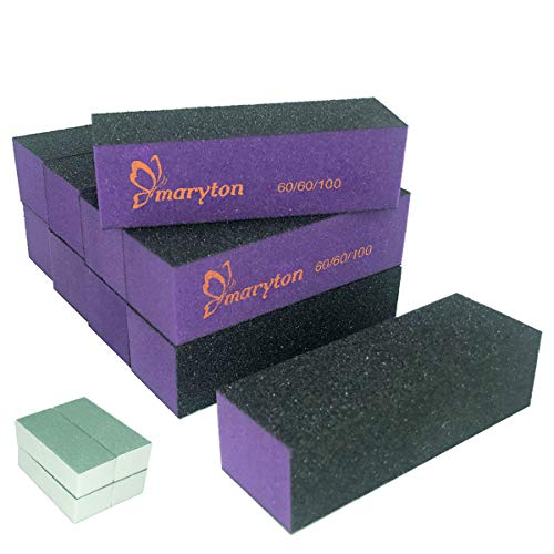 Nail Buffer Sanding Block Polisher Buffing File 60/100 Grit Nail Art Pedicure Manicure Tool 10 PCS (Black Purple)