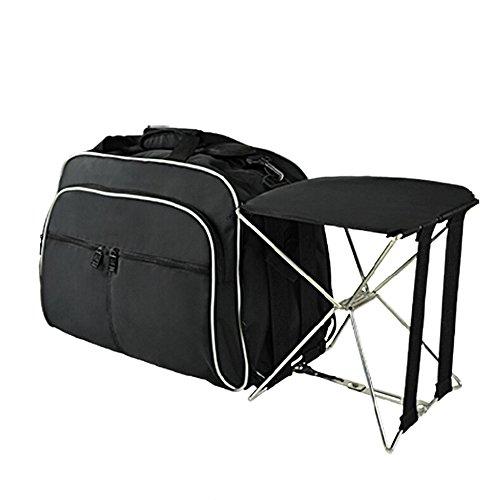 MIMI KING Angeln Stuhl Gepäcktasche mit Klappstuhl Casual Große Kapazität Kurze Reise Umhängetasche Männer und Frauen Tragbare Handtasche 55 * 23 * 32 cm,Black
