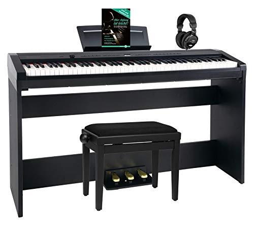 Steinmayer P-60 SM Stagepiano Home Set (88 Tasten und passendem Unterbau, Hammermechanik, Anschlagdynamik, 128-fach polyphon, 14 Sounds, inkl. Pianobank, Kopfhörer, Notenhalter, Noten) schwarz