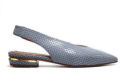 PEDRO MIRALLES - Bailarinas Planas destalonadas de Piel Efecto Serpiente, Punta Fina, Suela de Goma, para: Mujer Color: Jeans Talla:37