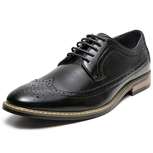ZRIANG Mens Wingtip Brogue Leather Lined Lace-up Oxford Dress Shoes (10 M US, Black1)