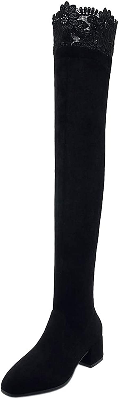 CularAcci Women Fashion Low Heel Above The Knee Boots