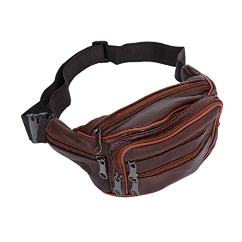 Amosfun pack waist fanny women bag leather a belt black candle men id man galaxy you purse fashion- Leather Waist Bag Coin Purse Waterproof Shoulder Messenger