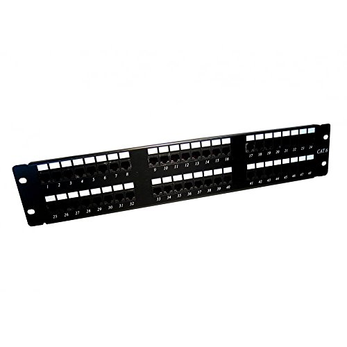 CAT6 CAT 6 RJ45 Parche Panel Estante Montable 2U 48 Puerto