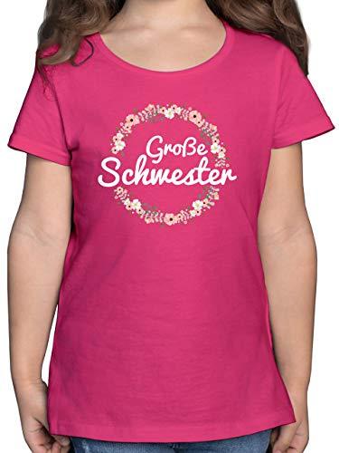 Geschwisterliebe Kind - Große Schwester Blumenkranz - 104 (3/4 Jahre) - Fuchsia - Kinder t-Shirt große Schwester - F131K - Mädchen Kinder T-Shirt