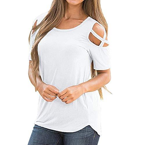 KIMODO T Shirt Damen Riemchen Schulterfreie Schulter Bluse Top Einfarbig Kurzarm Sommer Schwarz Blau Rot Oberteile Shirt Mode