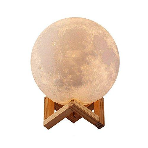 3D Mond Lampe Kugel LED Nachtlampe Moderne Stehleuchten Dimmbar Touch Control Helligkeit Usb wiederaufladbar Mondscheinlampe für Geschenk Tischlampe Zum Kinder mit stand (8 cm)