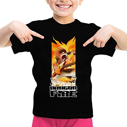 Okiwoki T-Shirt Enfant Fille Noir Fairy Tail parodique Natsu : Dragon Fire !!! (Parodie Fairy Tail)