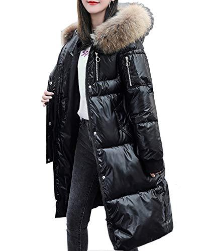 GZDMFS Womens Winter Hooded Warm Coats Parkas Down Jackets Zipper Long Overcoat (X-Large, Black)