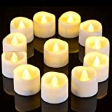 Timer Tea Lights, Ymenow 12pcs Battery Operated LED Flameless Flickering Tealight Votive Candles with 6 Hours Timer for Home Wedding Halloween Christmas Party Décor - Warm White