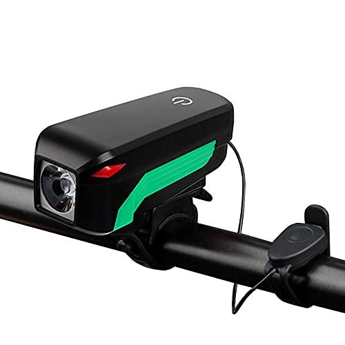Luz Bicicleta,Potente Luces Bici Delantera Y Recargables USB Linterna Bicicleta Impermeable Focos para Bicicletas Luces Adecuado para Una Conducción Segura por La Noche (Color : Green)