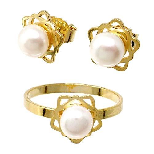 Juego plata Ley 925m chapado oro Primera Comunión sortija pendientes flor pétalos calados perla