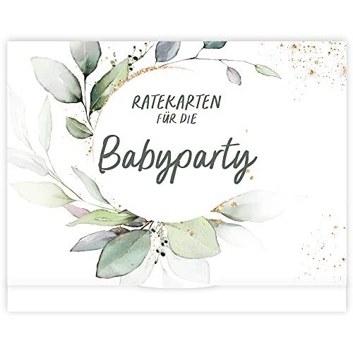 Babyparty Spiele I 25 Babyshower Karten zum Ausfüllen für Babyparty Mädchen und Jungen I Babyshower Spiele Ratespiel inkl. Box I Deko Geschenk Baby Shower Party Spiel (GrünGold)