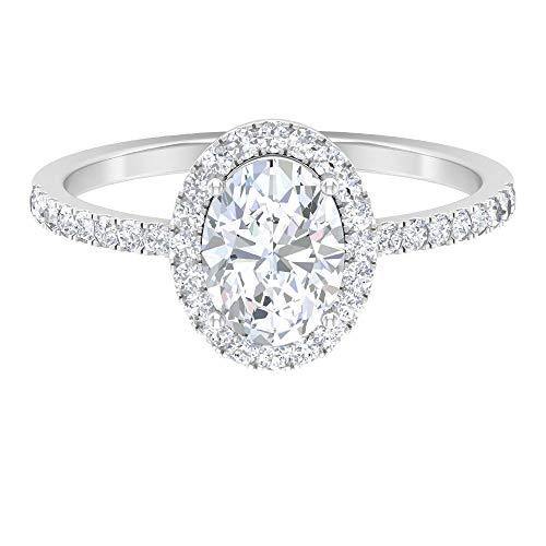 Anillo de compromiso vintage, D-VSSI 1.8 CT 8X6 MM forma ovalada anillo de moissanite, anillo solitario de boda, anillo único de declaración, 14K Oro blanco, Moissanita, Size:EU 61