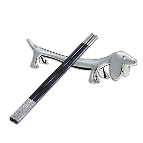 Diafrican 4 Stücke Edelstahl Stässtäbchen Halter, kreative Hund geformtE Legierung Chopstick Halter, Tier Essstäbchen Rack für Familien, Hotels, Cafés
