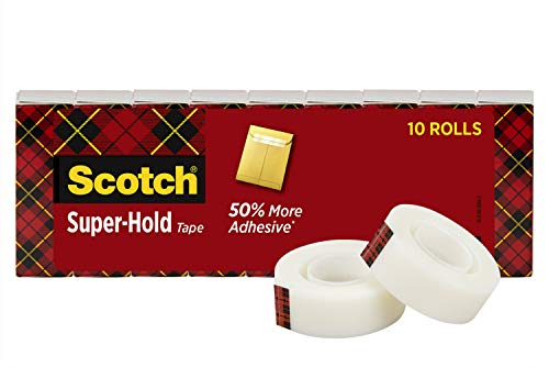 Scotch Brand Super-Hold Tape, Our Most Secure Tape, Glossy Finish, Engineered for Office and Home Use, 3/4 x 1000 Inches, Boxed, 10 Rolls (700K10)