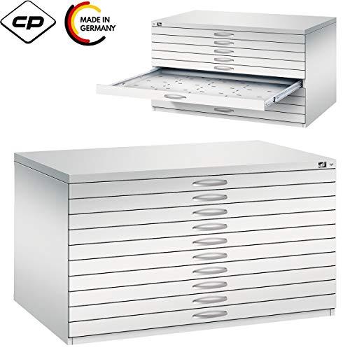 Bümö CP plankkast 5 laden DIN A0, lichtgrijs - tekenkast platte opbergkast grafische kast architectenkast 10 Schubladen | DIN A0 Lichtgrijs (Ral 7035)