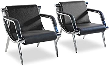 BORELAX 2Pcs Black PU Leather Office Reception Chair Waiting Room Visitor Guest Sofa Seat