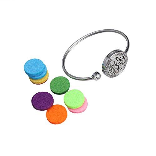 rosenice aceite esencial difusor pulsera de acero inoxidable Aromaterapia medallón pulsera pulseras con 10Pads para el Día de la Madre Regalo