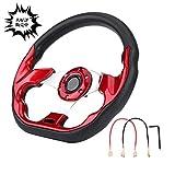 Qiilu 320mm ステアリング 赤 最新炭素繊維 レーシングステアリングホイールの変更、ミニドリフトステアリングホイール ((赤))