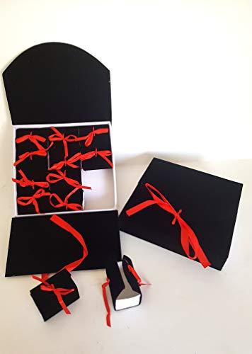 takestop® box boek met 12 stuks bonnière hoed tesi SCATOLINA 23 x 24,5 x 6 cm confettihouder afsluitfeest