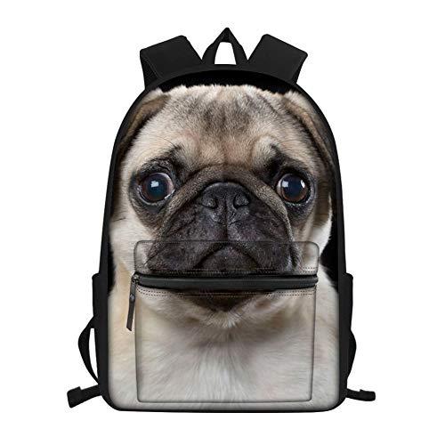 Nopersonality Mochila escolar con diseño de lobo de caballo, pug de animales, para libros, viajes, casual, para niños y adolescentes, carlino (Gris) - Nopersonality