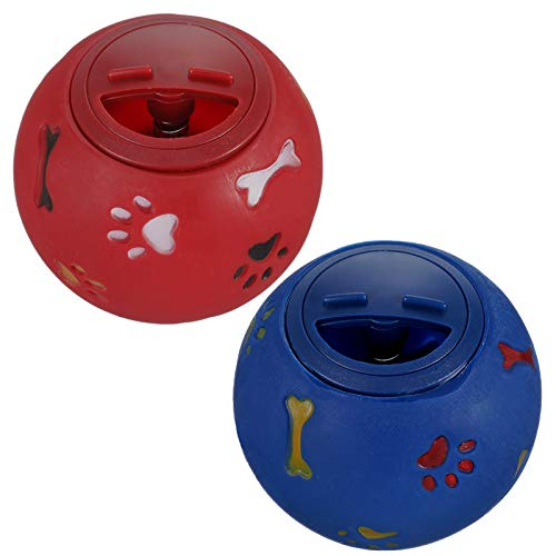 Gaosaili 2 Stücke Hundespielzeug Ball, Leckerli Spielzeug Ball Hundeball Hundespielball Pet Welpe Intelligenz Ball aus Gummi für Haustier Hunde