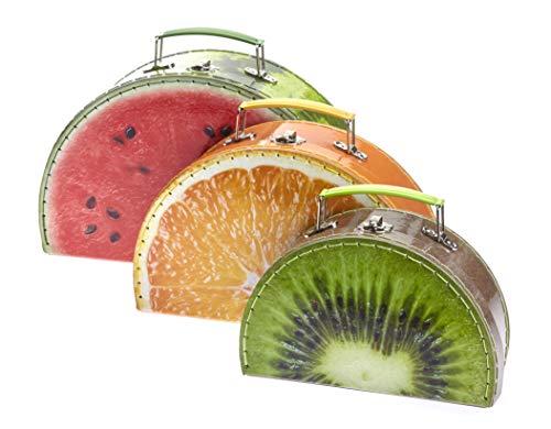 TURBO PRODUKTE Juego de 3 maletas para niños – Maletín de juegos para niñas y niños redondo con diseño de frutas melón, naranja, kiwi – Ideal para viajes y orden en la habitación de los niños