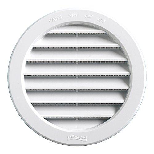 La Ventilazione T12RB Griglia Plastica Tonda da Incasso, Bianco, 150 mm, ø