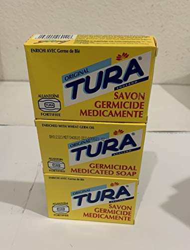 Tura Germicidal Medicated Soap (Savon Germicide Medicamente) 65 grams (2.29 OZ) Pack of 3 Bars.