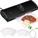 Charcy Food Saver Vacuum Sealer Machine, Automatic Food Vacuum Sealer with Suction Pipe, Built-In Cutter, Dry & Moist Modes, Led Indicator Lights, 25 Sealing Bags Included (15 Big, 10 Medium)(Black)