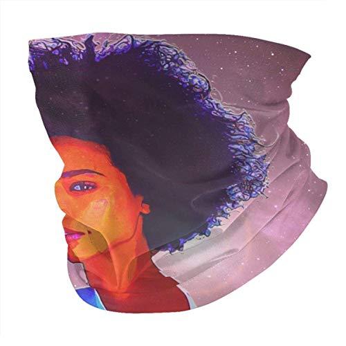 Tzshak Afro Fille dans Le Coupe-Vent Cosmique Chapeaux Bandeau écharpe Masque Facial Lavable poussière Cou Bandana Masque Cagoule