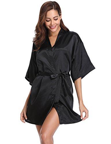 Vlazom Damen Morgenmantel Kimono Satin Robe Kurze Nachtwäsche V Ausschnitt Bademantel Mit Gürtel Kimono Robe für Hochzeit Party Pool Party und Pajama Party