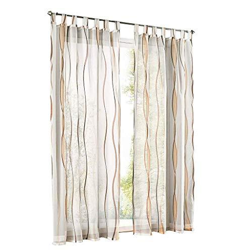 ESLIR Gardinen mit Schlaufen Vorhänge Gardinenschals Transparent Schlaufenschal Wellen Muster Voile Sand BxH 140x225cm 1 Stück