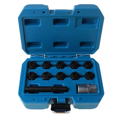 Retirada e instalación de tornillos antirrobo Juego de manguitos de casquillo Grupo para tuercas de bloqueo de ruedas Juego de casquillos de llaves de extracción de tuercas de tuercas antirrobo